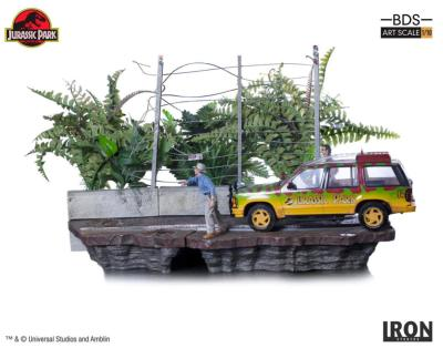 T-Rex Attack Set B 57 cm Jurassic Park diorama 1/10 Art Scale | Iron Studio